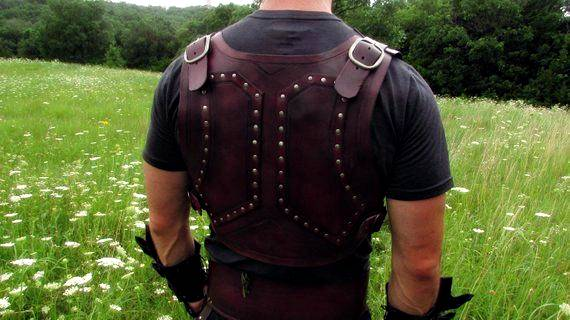 Back of a studded leather armor