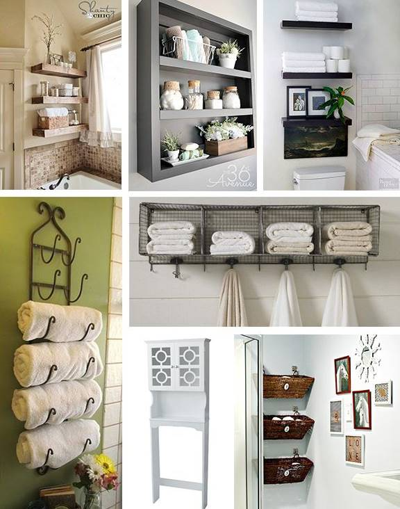 Few different over-the-toilet storage space ideas